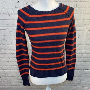 KENZI Striped Elbow Patch Sweater